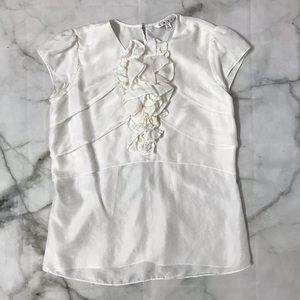 CAbi White Silk Jabot Blouse, Ruffle Front